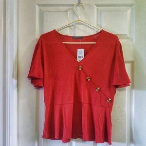 2/$15 orange flutter sleeve v-neck blouse XL